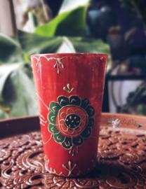 Rode glazen theelichthouder handbeschilderd
