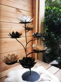 Black & Gold Lotus Boom   7 capiz waxinelicht houders inclusief standaard   mat zwart