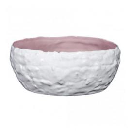 Keramieke witte met roze schaal