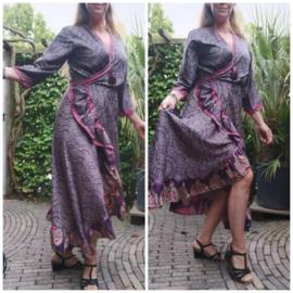 Ibiza Dress one size fits all | Wikkeljurk | sari |  paars met roze