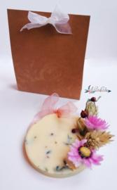 Botanische Bedank kaarsje met gedroogde bloemen en kruiden