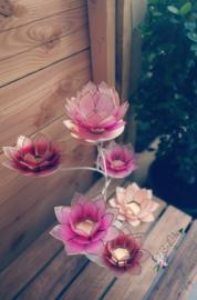 Pinkisch Lotus Boom | 7 capiz waxinelicht houders inclusief standaard | Wit