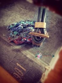 Leren wrap, armband van echt leer met koper kleurige sluiting
