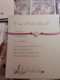Verstelbare Make A Wish Bracelet Lotus | Peace