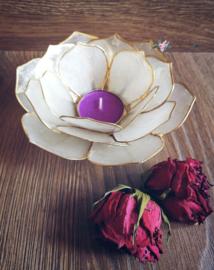 Bladvorm Lotus sfeerlicht wit | gouden rand