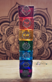 Set 7 Chakra glazen kaarshouders