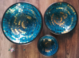 Blauwe Mozaïek met gouden spikkels schaal  M