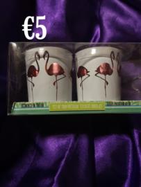 Flamingo waxinelichthouders