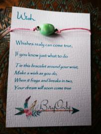 Verstelbare Wish bracelet Amazoniet