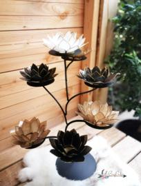 Black & Gold Lotus Boom | 7 capiz waxinelicht houders inclusief standaard | mat zwart