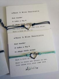 Verstelbare Make A Wish Bracelet Heart | zilver | Juf en meester