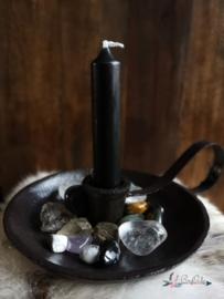 Zwart metalen  kaarsenstandaard met oortje