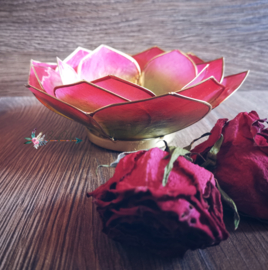 Bladvorm Lotus sfeerlicht Roze Groen | gouden rand