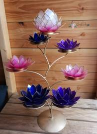 Spicey Lotus Boom | 7 capiz waxinelicht houders inclusief standaard | Brons