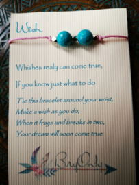 Verstelbare Wish bracelet Turquoise