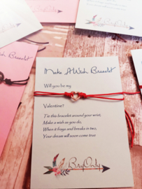 Verstelbare Make A Wish Bracelet Will you be my valentine | rosé