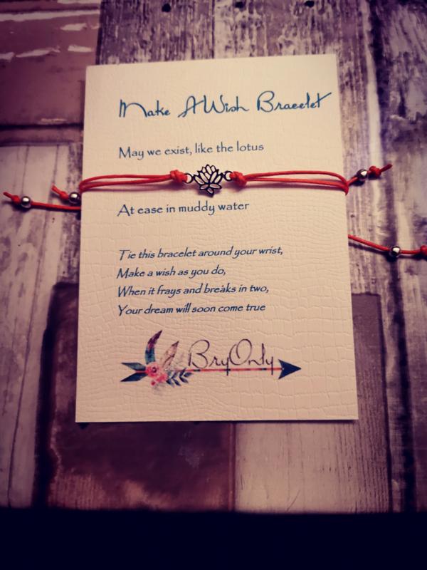 Verstelbare Make A Wish Bracelet Lotus