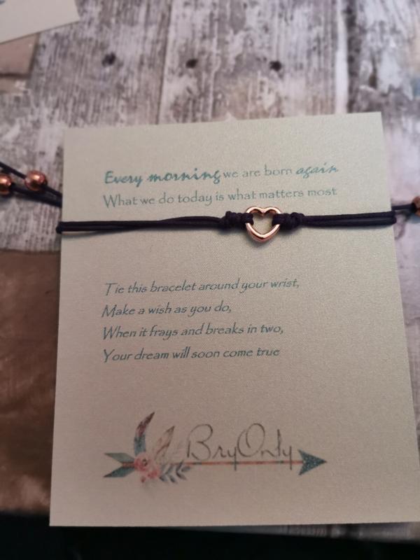 Verstelbare Make A Wish Bracelet Heart | Reborn