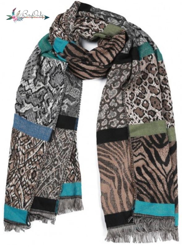 Zachte sjaal met verschillende dierenprints blauw| bruin