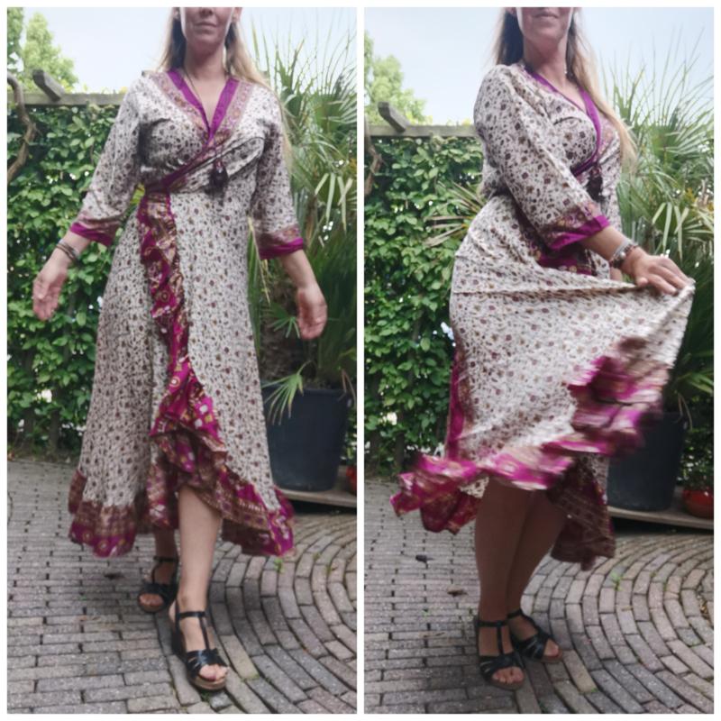 Ibiza Dress one size fits all | Wikkeljurk | sari |  cerise met creme