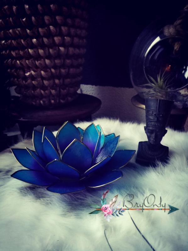 Lotus Waxinelicht  2 kleuren blauw