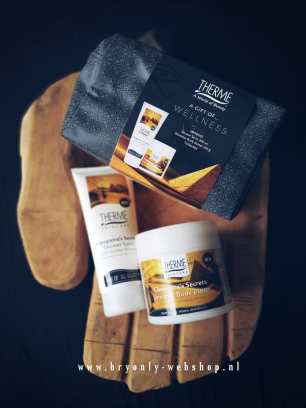 Therme Cleopatra's Secrets - Geschenkset 3-delig: Shower Satin 200 ml & Shimmer Body Butter 250 g & Toilettasje