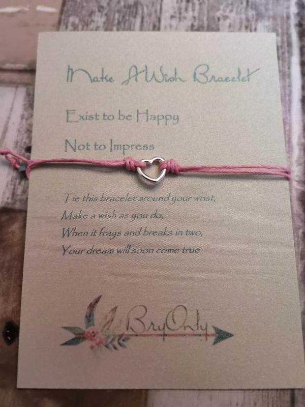 Verstelbare Make A Wish Bracelet Heart | Happy