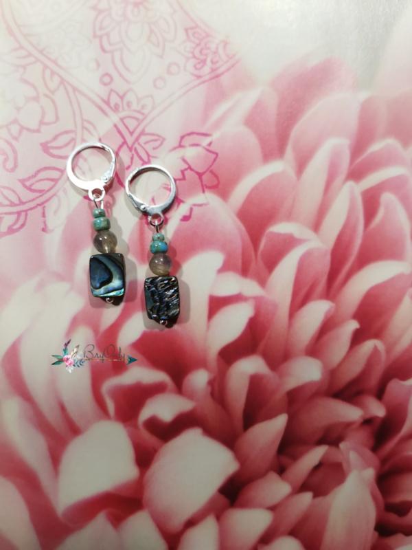 Sedna Goddess of the Sea | labradoriet en abalone oorbellen