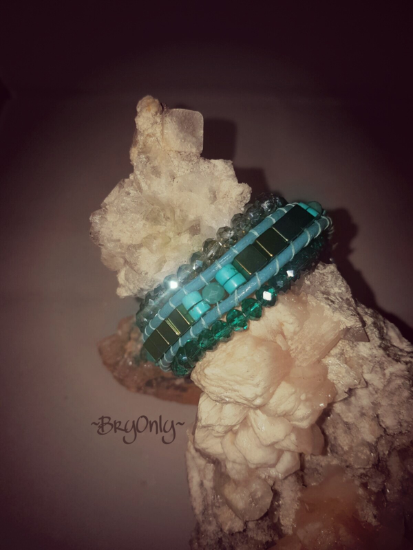 Green Punch wrap, Turquoise en hematiet armband