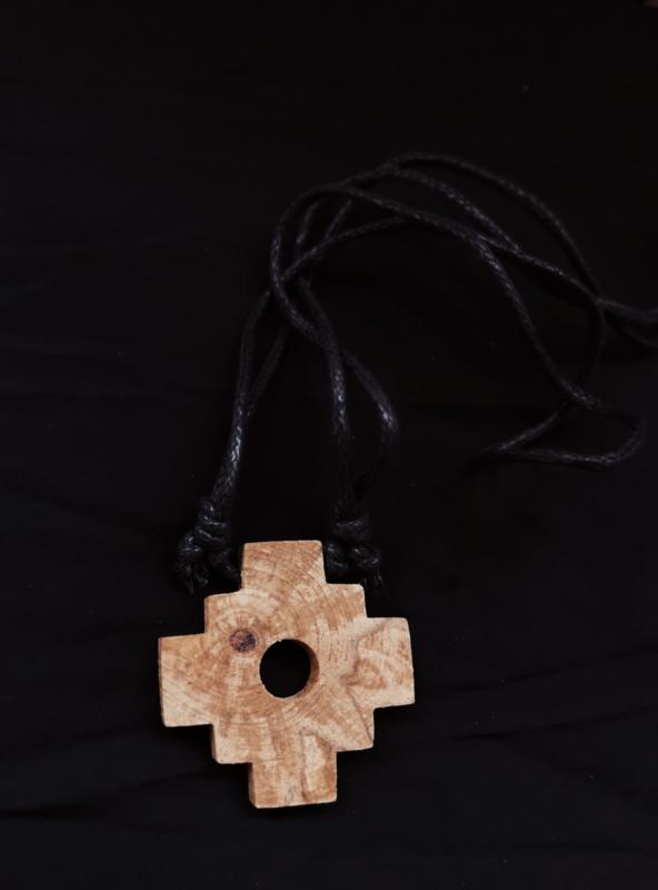 Palo Santo Chakana Inca Kruis Necklace   verstelbaar