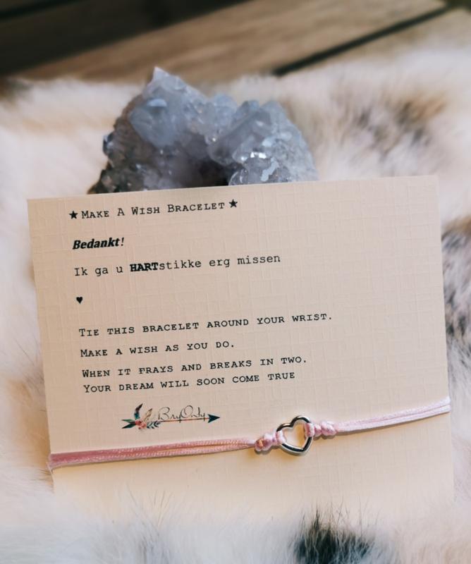 Verstelbare Make A Wish Bracelet  hart | Juf en meester