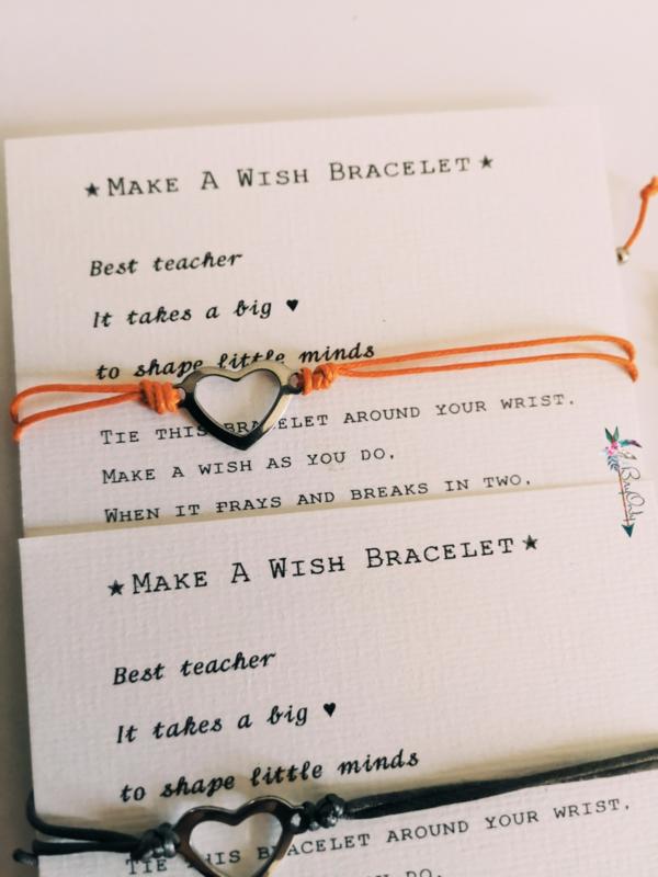 Verstelbare Make A Wish Bracelet Heart | zilverkleurige | Juf en meester