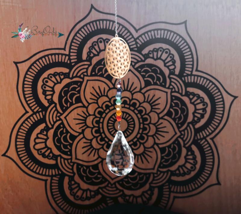 Kristaldruppel wit met chakra bloem des levens Chakra