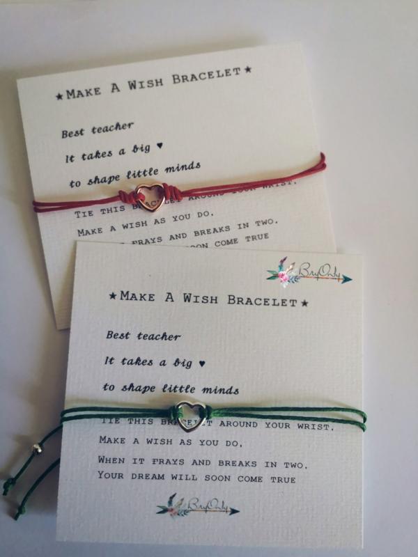 Verstelbare Make A Wish Bracelet Heart | Rosé | Juf en meester