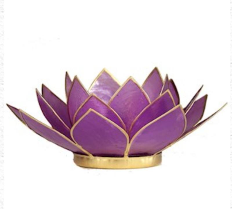 Lotus waxinelicht lila | gouden randjes