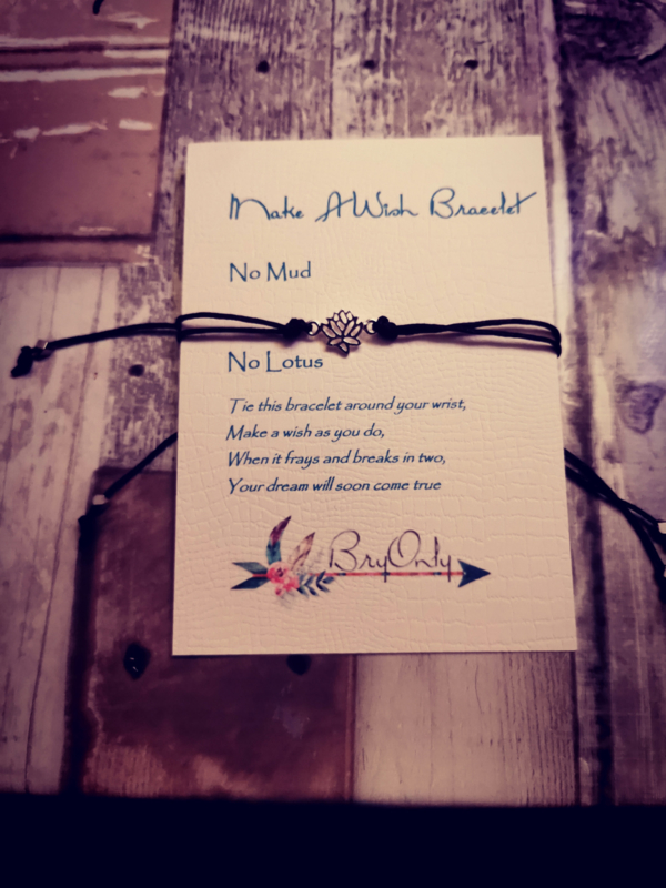 Verstelbare Make A Wish Bracelet No Mud No Glory Lotus
