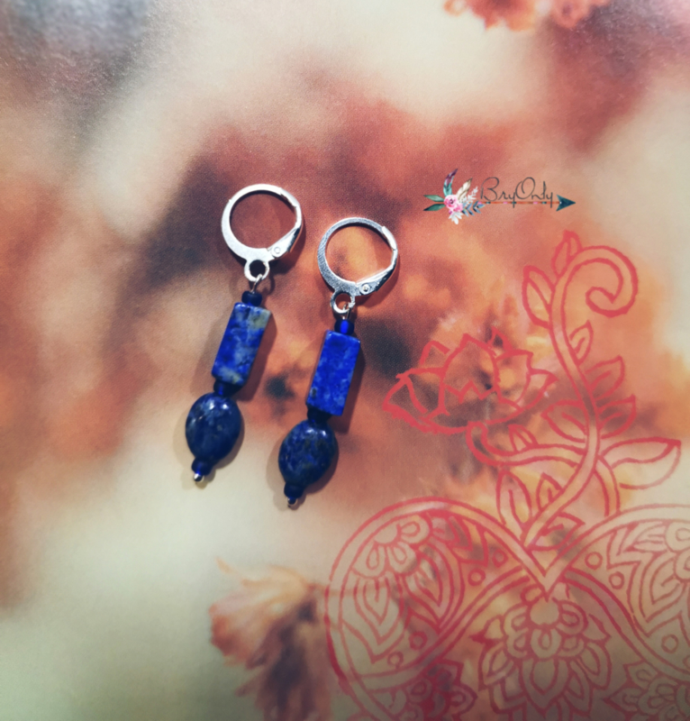 Astraea Goddess of Truth | Lapis Lazuli | silver plated oorbellen