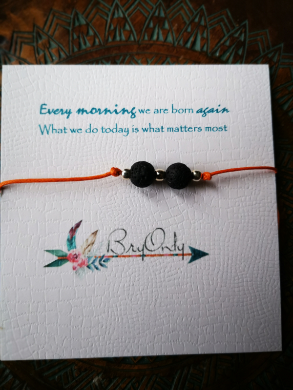 Verstelbare Wish bracelet Lava kralen