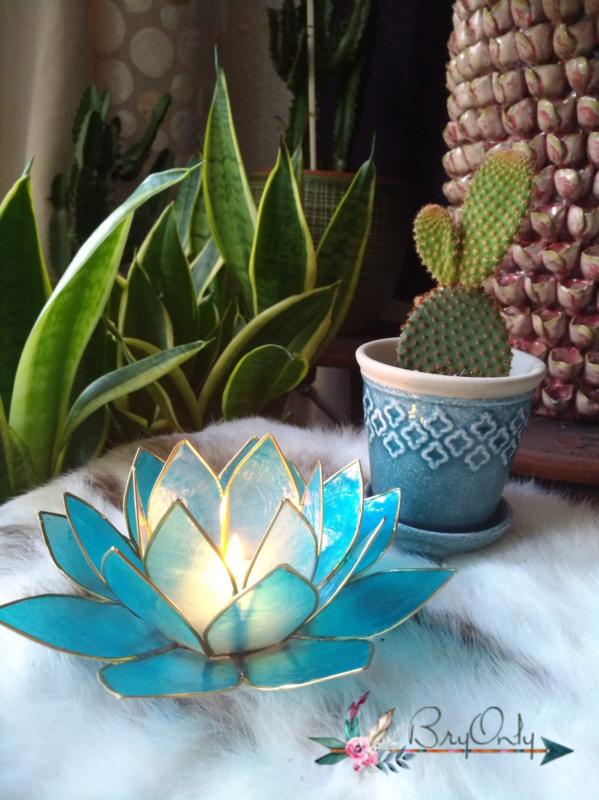 Lotus waxinelicht licht blauw