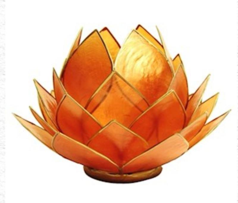 Lotus Waxinelicht Oranje |Oranje groot