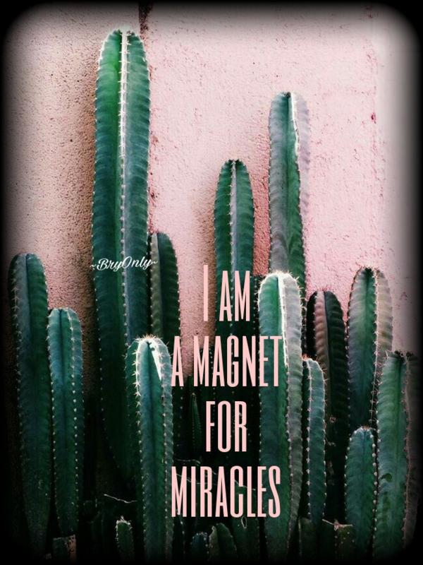 affirmatiekaartje en engeltje  I am a magnet for miracles
