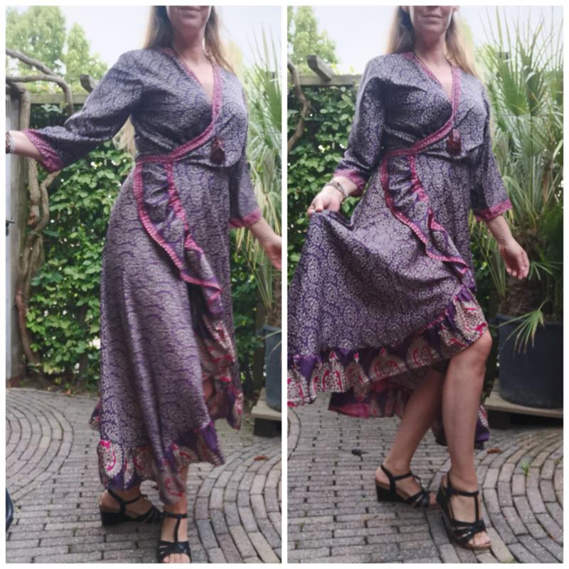 Ibiza Dress one size fits all   Wikkeljurk   sari    paars met roze