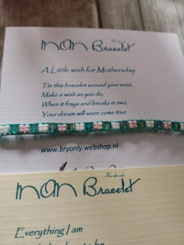 Verstelbare Wish bracelet | Mom, groene kralen