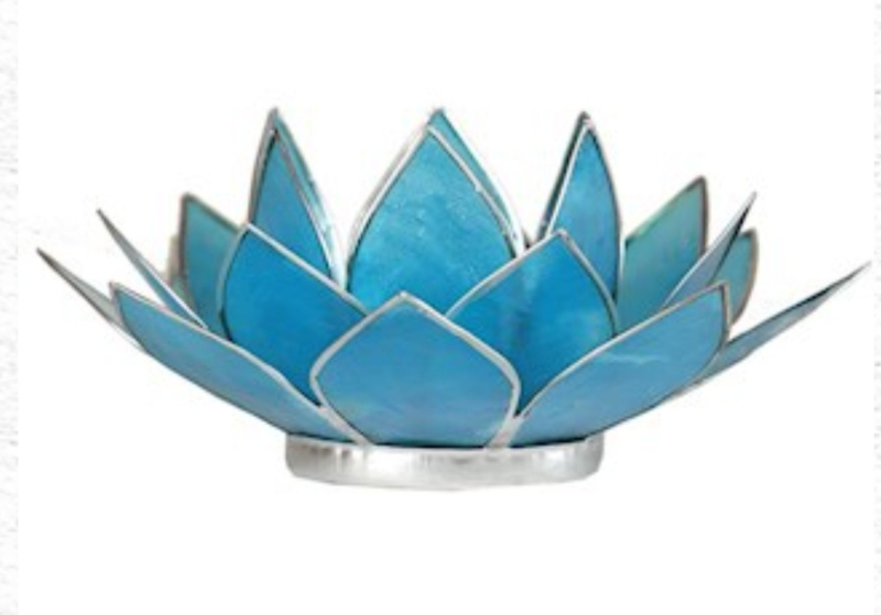 Lotus waxinelicht licht blauw   zilver