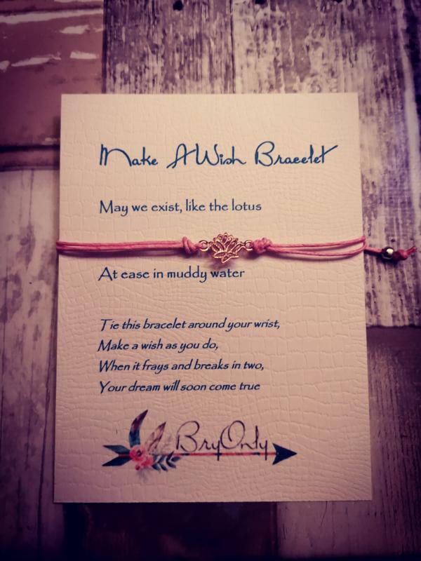 Verstelbare Make A Wish Bracelet Rosé kleurige Lotus