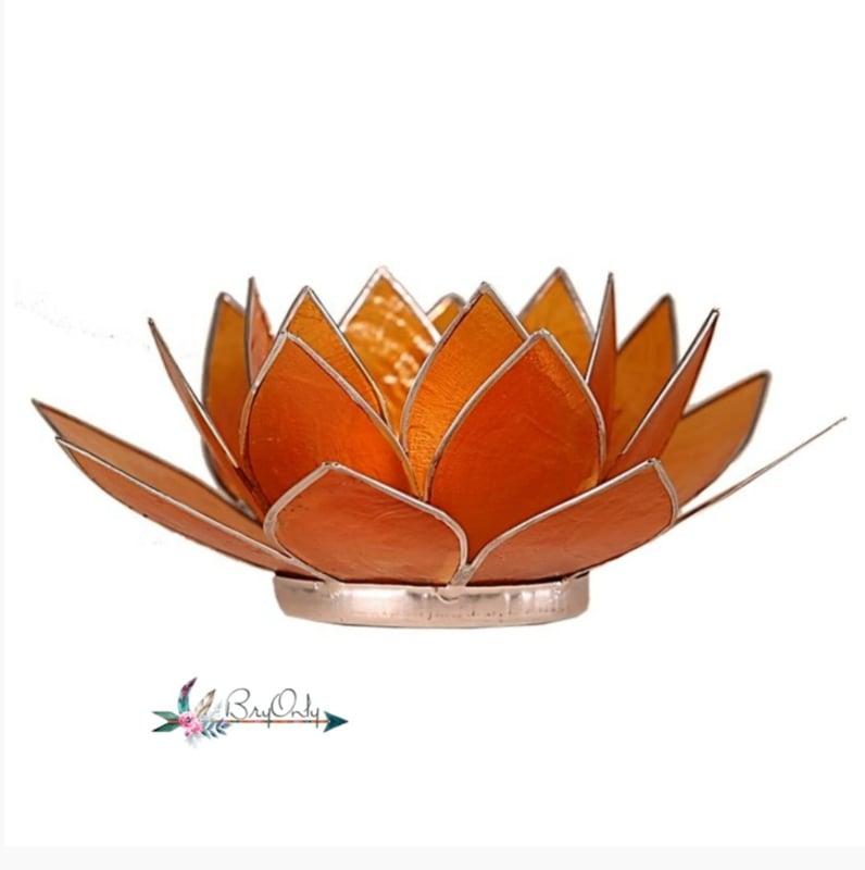 Lotus waxinelicht oranje |gouden rand| 2e chakra