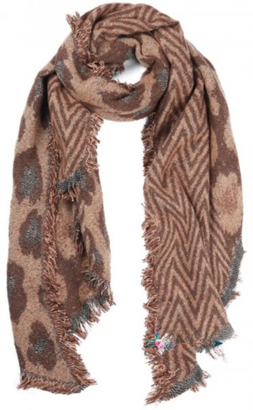 Zachte sjaal met  luipaard print| bruin