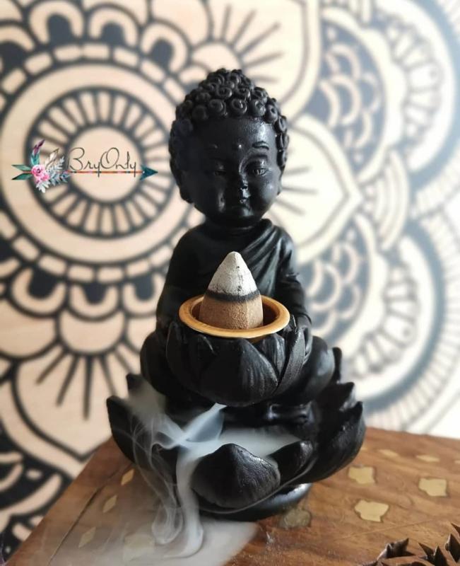 Boeddha Backflow Wierookhouder | Mat zwart