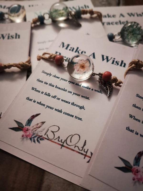 Verstelbare Make a Wish bracelet pink flower