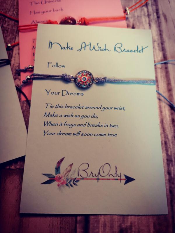 Verstelbare Make A Wish Bracelet Mandala | follow your dreams